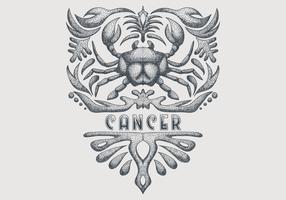 signe du zodiaque cancer vintage vecteur