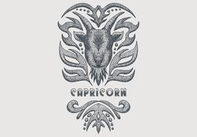 signe du zodiaque vintage capricorne vecteur