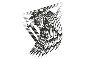 Tête d'aigle vintage vecteur