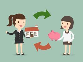 Deux femmes échangent de l'argent et une maison vecteur