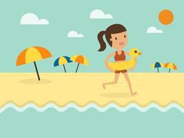 Femme qui court sur la plage avec floatie vecteur