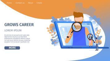 Man Character Search Opportunité de croissance de carrière