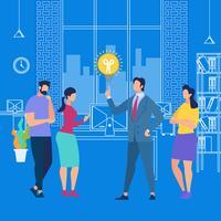 Formation en entreprise ou partage d'une idée avec les employés vecteur