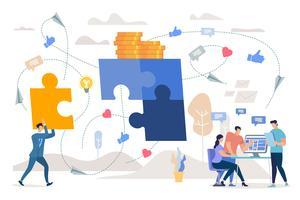 Travail d'équipe sur la stratégie marketing vecteur