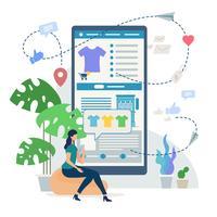 Shopping en ligne avec téléphone portable vecteur