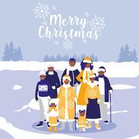 famille dans le paysage d'hiver de Noël vecteur