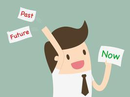 Homme d'affaires choisissant une carte avec mot maintenant et jetant le passé et l'avenir vecteur
