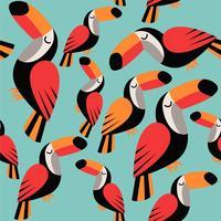 Modèle sans couture tropical avec toucans, sur fond bleu
