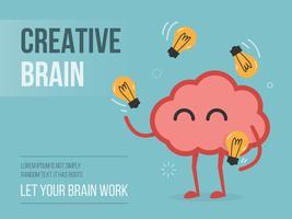 Cerveau jonglant des ampoules vecteur