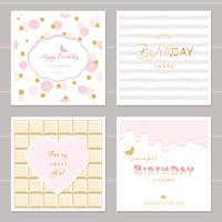 Conception de cartes mignonnes avec des paillettes pour les filles. Invitation de fête d'anniversaire. Comprend des motifs sans couture à pois, au chocolat et à rayures.
