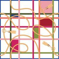 Modèle sans couture géométrique de ceintures, de chaînes et de glands vecteur