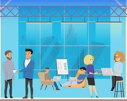 Réunion d'affaires dans l'espace créatif partagé