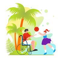 Basketball en fauteuil roulant vecteur