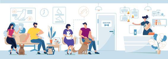 Visiteurs de la clinique vétérinaire avec animaux domestiques
