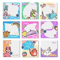 Set Carte Promo Coupon Promo Kawaii Discount vecteur