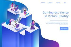 Expérience de jeu de bannière en réalité virtuelle vecteur