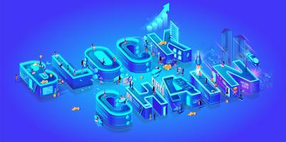 Lettres 3D Blockchain vecteur