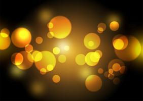Lumières de bokeh d'or design fond vecteur