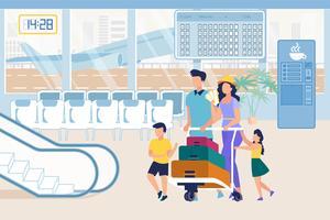 Parents et enfants à l'aéroport en poussant un chariot à bagages