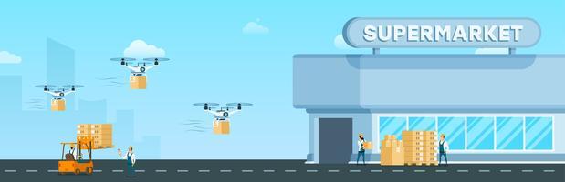 Flying Drone Air Livraison Rapide au Supermarché vecteur