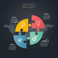Concept d'entreprise infographique cercle Puzzle Timeline avec 4 options.