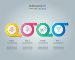 Concept d'entreprise de conception cercle flèche infographie avec 4 options vecteur