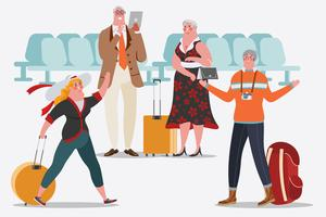 Les gens à l'aéroport sont heureux de se rencontrer. Les adultes utilisent une tablette vecteur