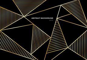Motif polygonal de luxe en or sur fond noir