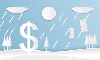 Papier découpé en monnaie dollar avec paysage sur fond bleu