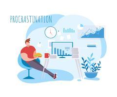 Pause café de procrastination vecteur