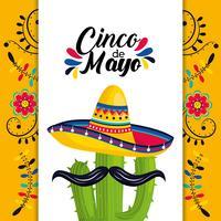 carte mexicaine avec chapeau et plante de cactus avec moustache vecteur