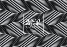 Motif de vagues ou de lignes courbes noir et blanc vecteur
