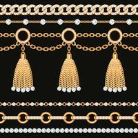 Ensemble de bordures de chaîne métalliques dorées avec des pierres précieuses et des glands vecteur