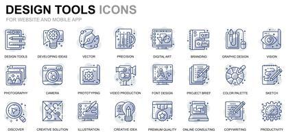 Ensemble d'icônes de ligne d'outils de conception pour site Web et applications mobiles vecteur