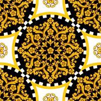 Mandala rond en ornamemtal doré avec bordure à carreaux