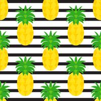 Ananas sur fond rayé noir vecteur