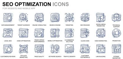 Icônes de ligne d'optimisation Web et référencement vecteur