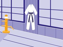 scène de dojo d'arts martiaux avec kimono vecteur