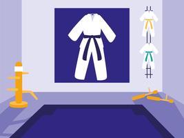 scène d'arts martiaux dojo vecteur