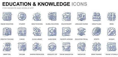 Icônes de ligne d'éducation en ligne vecteur