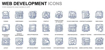 Icônes de ligne de conception et de développement Web vecteur