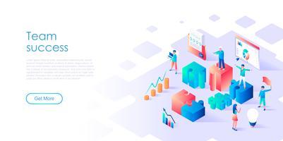 Concept isométrique du succès de l'équipe pour la bannière et le site Web