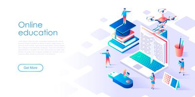 Concept isométrique de l'éducation en ligne pour bannière et site Web
