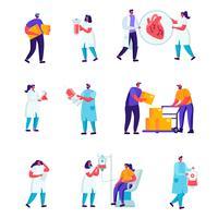Ensemble de personnel de médecine plat, ouvriers de réparation de routes
