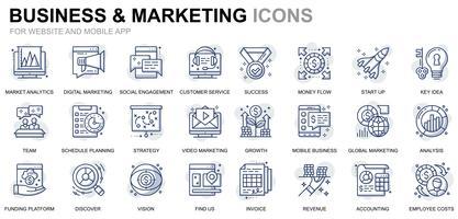 Icônes de ligne affaires et marketing vecteur