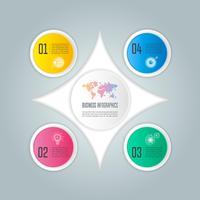 concept d'entreprise de conception infographique avec 4 options, pièces ou processus.