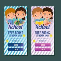 bannière verticale de l'école avec des enfants
