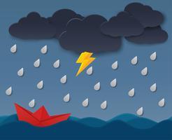 Bateau en papier face à une tempête