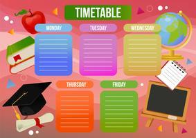 table de temps scolaire avec des biens scolaires