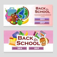 bannière web coloré avec le thème de l'école